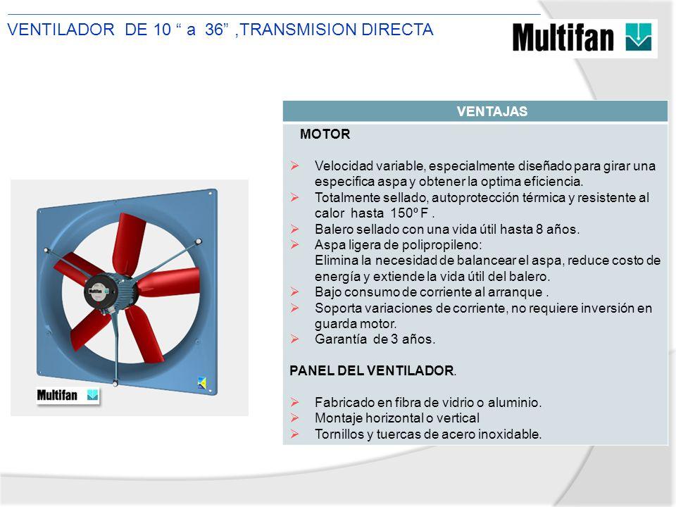 VENTILADOR DE 10 a 36 ,TRANSMISION DIRECTA