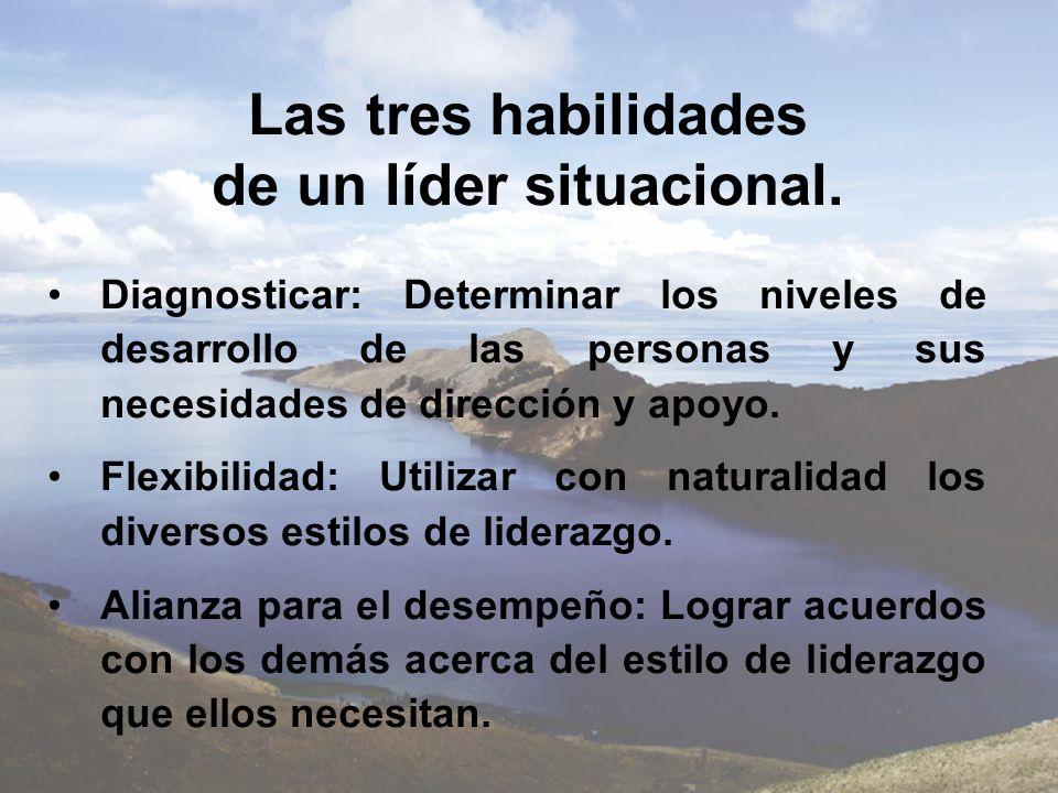 Las tres habilidades de un líder situacional.