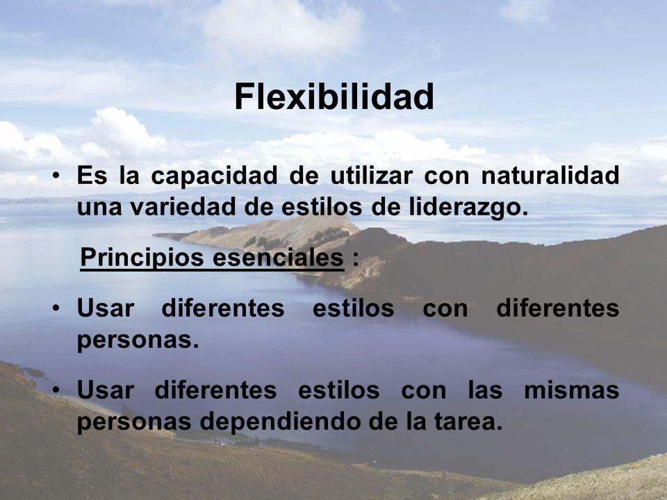 Flexibilidad Es la capacidad de utilizar con naturalidad una variedad de estilos de liderazgo. Principios esenciales :