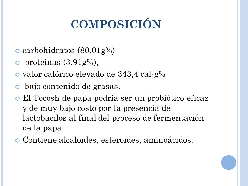 composición carbohidratos (80.01g%) proteínas (3.91g%),