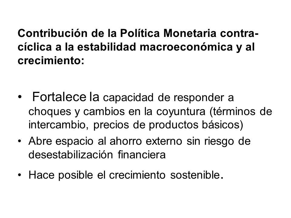 Contribución de la Política Monetaria contra-cíclica a la estabilidad macroeconómica y al crecimiento: