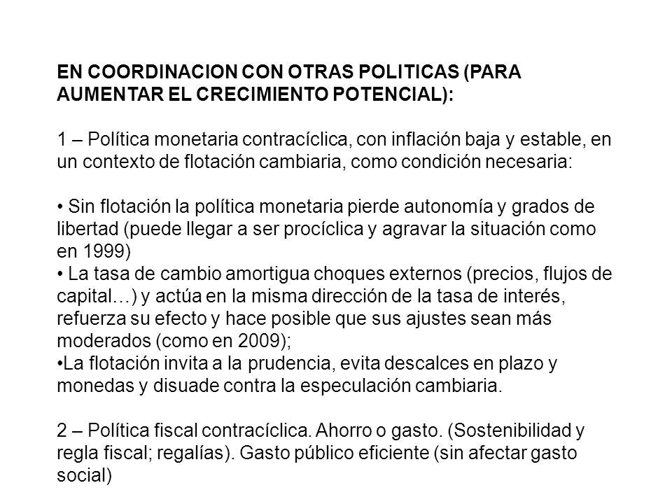 EN COORDINACION CON OTRAS POLITICAS (PARA AUMENTAR EL CRECIMIENTO POTENCIAL):