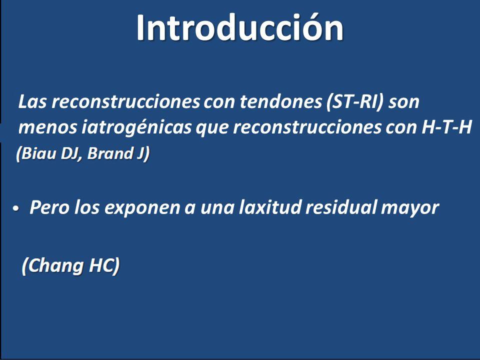 Introducción Las reconstrucciones con tendones (ST-RI) son menos iatrogénicas que reconstrucciones con H-T-H.