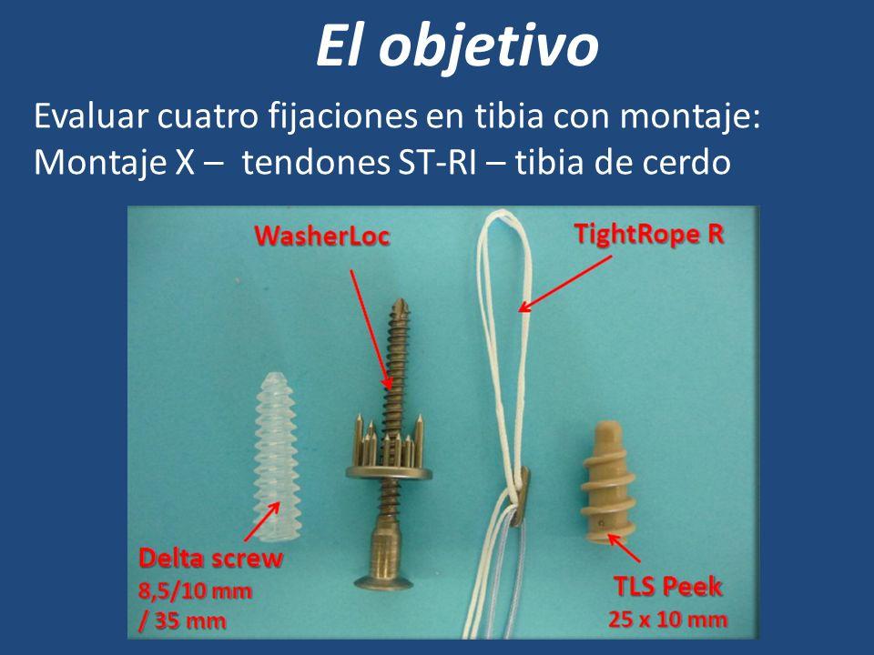 El objetivo Evaluar cuatro fijaciones en tibia con montaje: