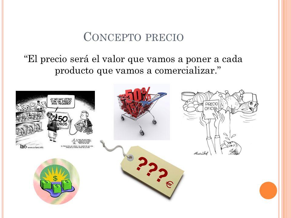 Concepto precio El precio será el valor que vamos a poner a cada producto que vamos a comercializar.