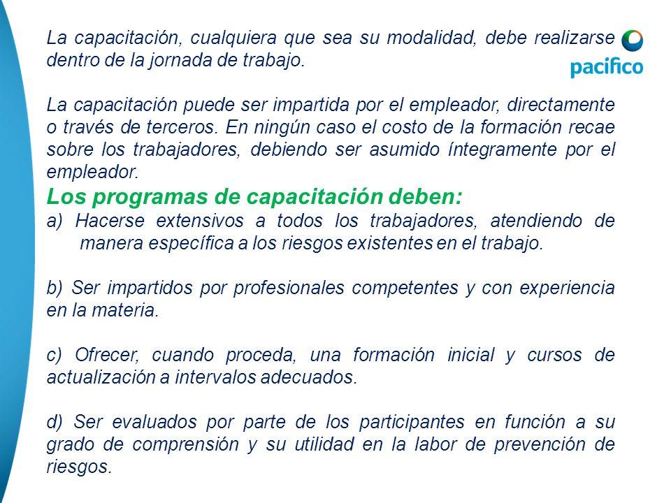 Los programas de capacitación deben: