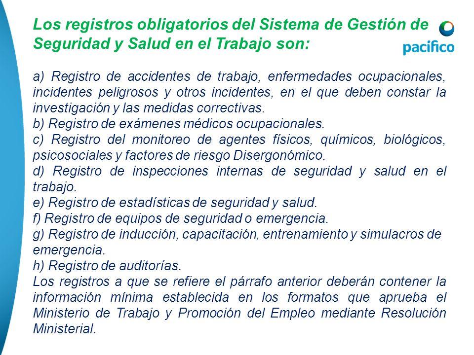 Los registros obligatorios del Sistema de Gestión de Seguridad y Salud en el Trabajo son: