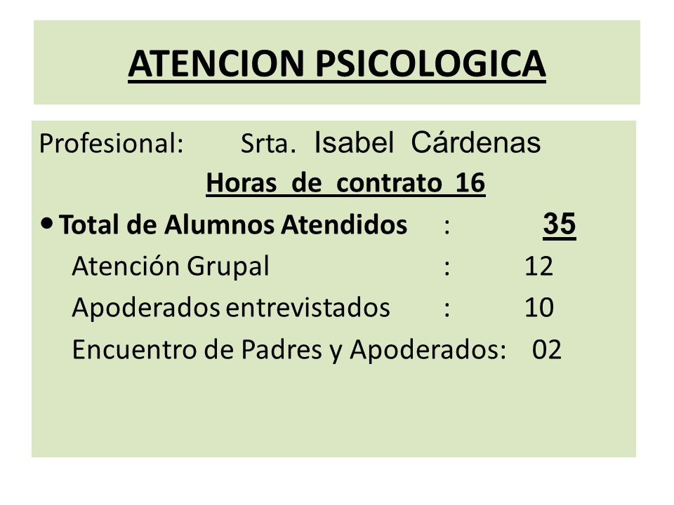 ATENCION PSICOLOGICA Profesional: Srta. Isabel Cárdenas