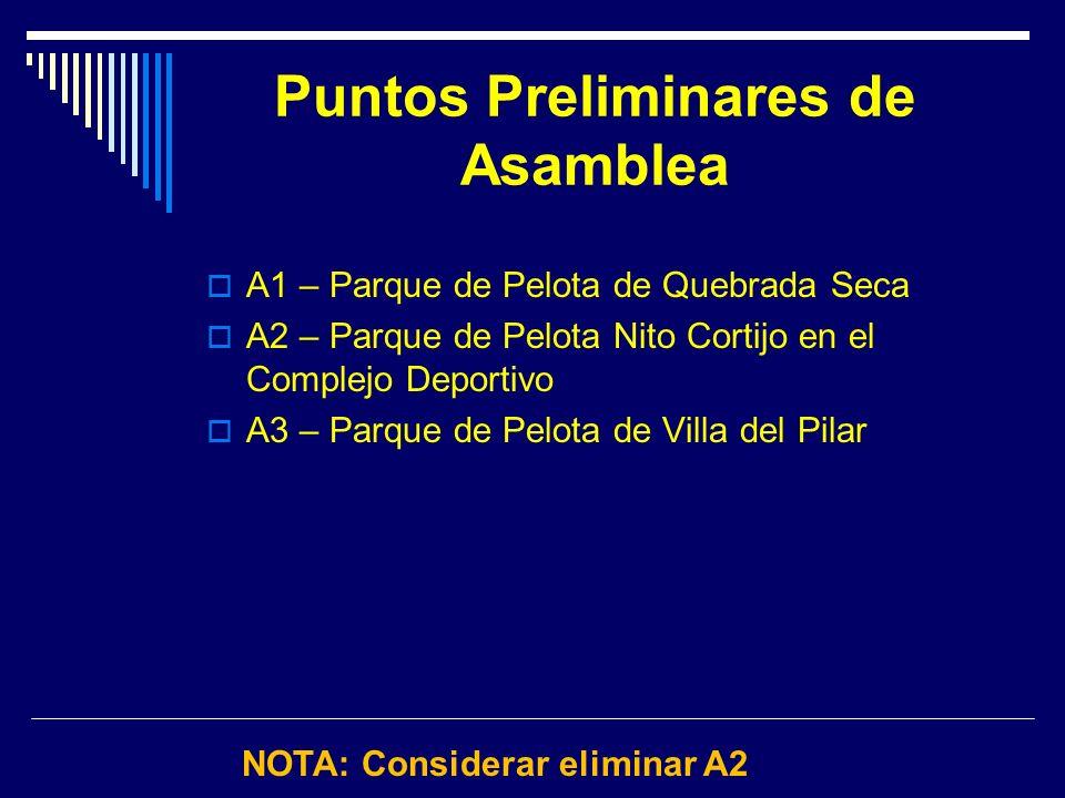 Puntos Preliminares de Asamblea