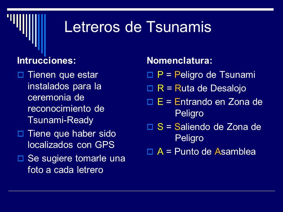 Letreros de Tsunamis Intrucciones: Nomenclatura:
