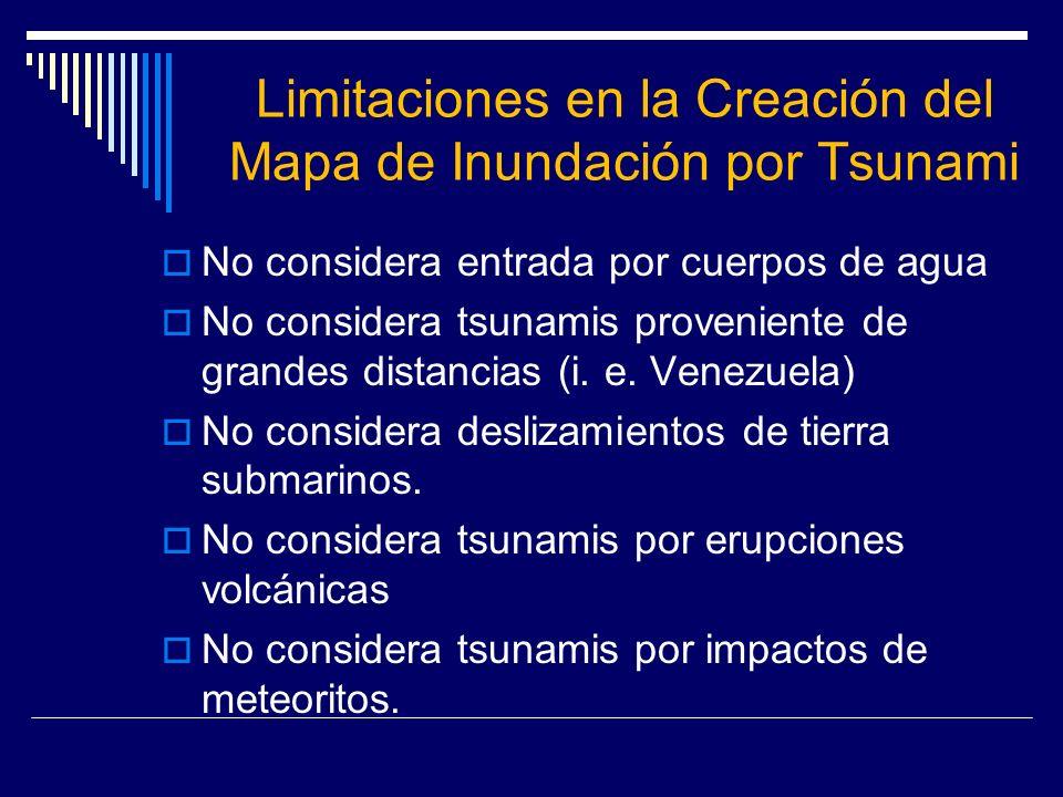 Limitaciones en la Creación del Mapa de Inundación por Tsunami
