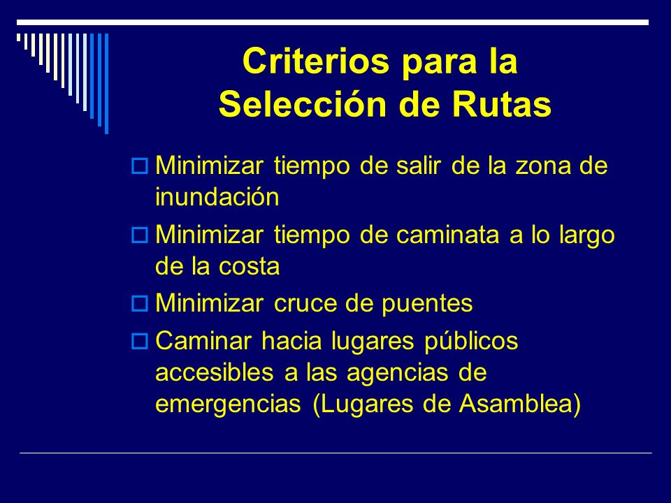 Criterios para la Selección de Rutas