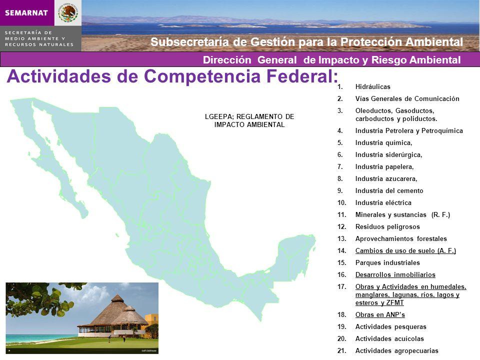 Actividades de Competencia Federal: