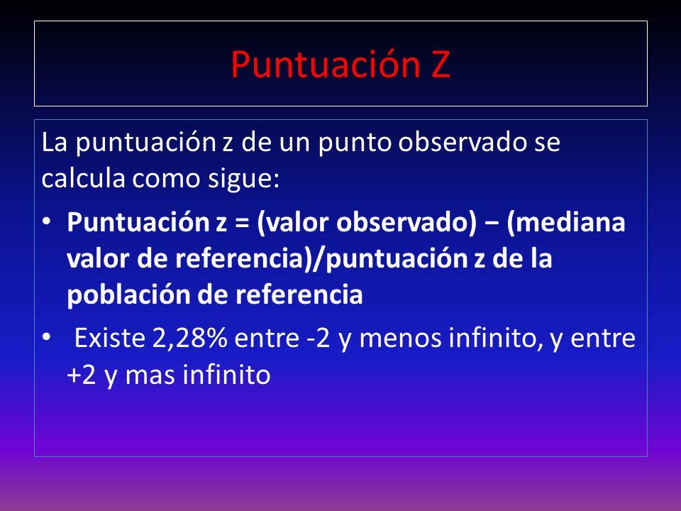 Puntuación Z La puntuación z de un punto observado se calcula como sigue:
