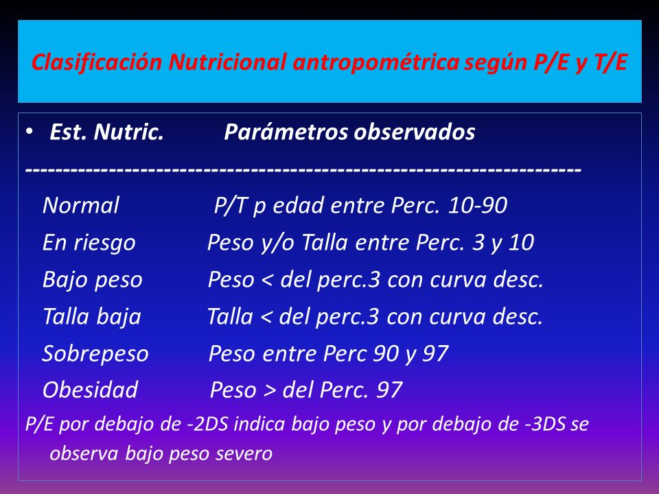 Clasificación Nutricional antropométrica según P/E y T/E