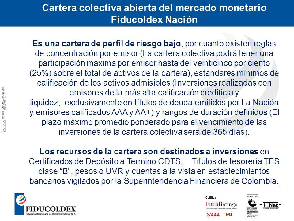 Cartera colectiva abierta del mercado monetario Fiducoldex Nación