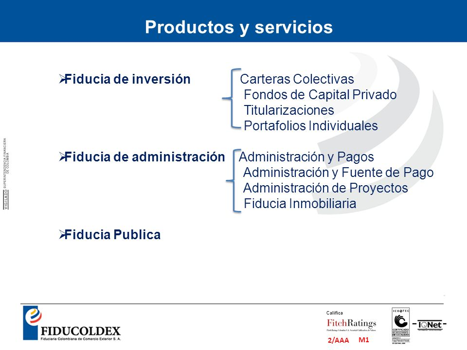 Productos y servicios Fiducia de inversión Carteras Colectivas