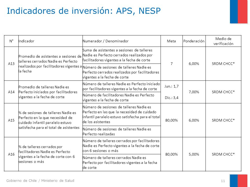 Indicadores de inversión: APS, NESP