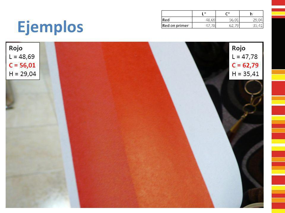 Ejemplos Rojo L = 48,69 C = 56,01 H = 29,04 Rojo L = 47,78 C = 62,79