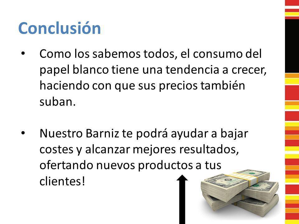 Conclusión Como los sabemos todos, el consumo del papel blanco tiene una tendencia a crecer, haciendo con que sus precios también suban.