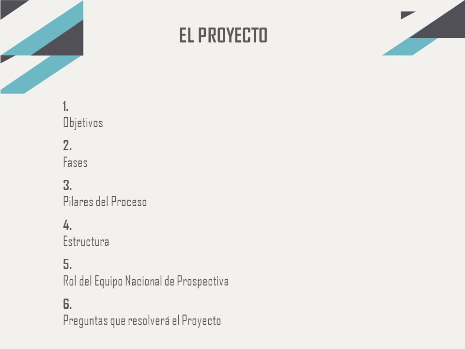 EL PROYECTO 1. Objetivos 2. Fases 3. Pilares del Proceso 4. Estructura