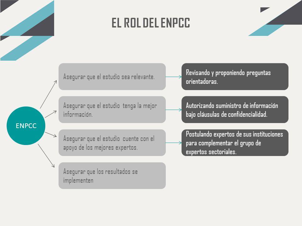 EL ROL DEL ENPCC Asegurar que el estudio sea relevante.