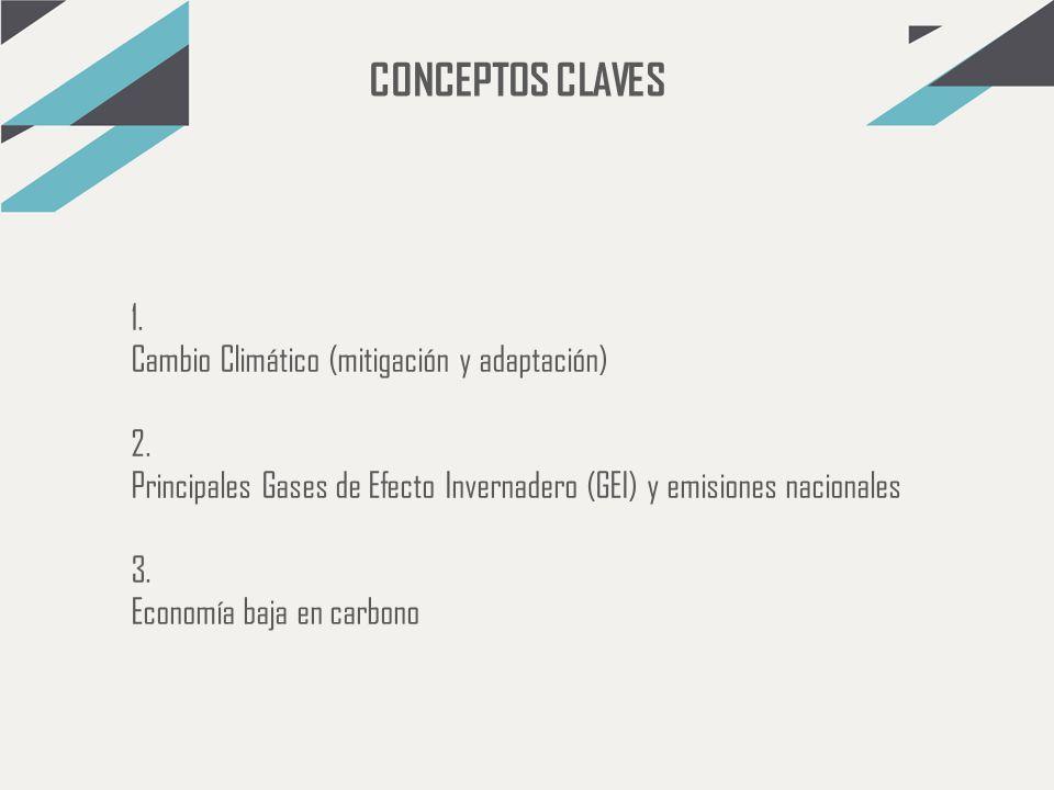 CONCEPTOS CLAVES 1. Cambio Climático (mitigación y adaptación) 2.