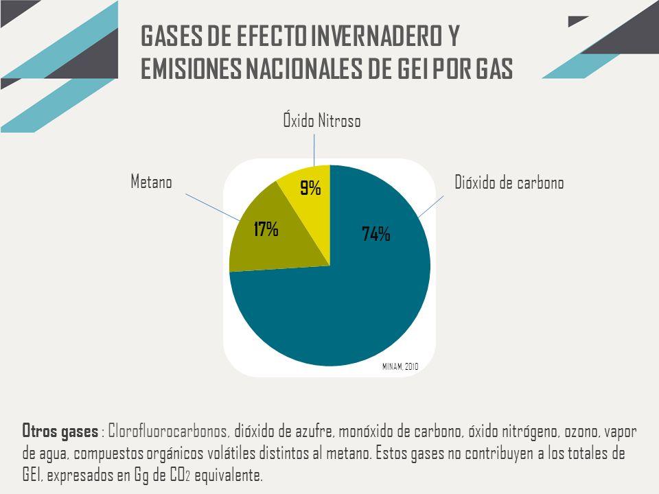GASES DE EFECTO INVERNADERO Y EMISIONES NACIONALES DE GEI POR GAS