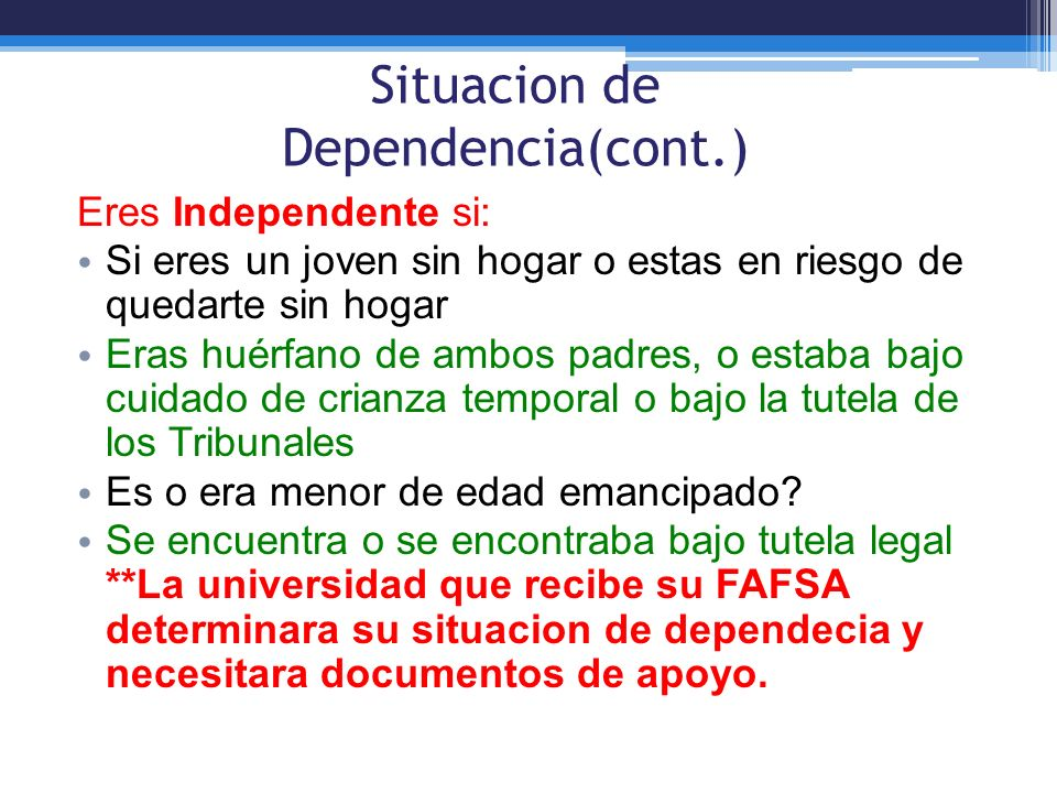 Situacion de Dependencia(cont.)