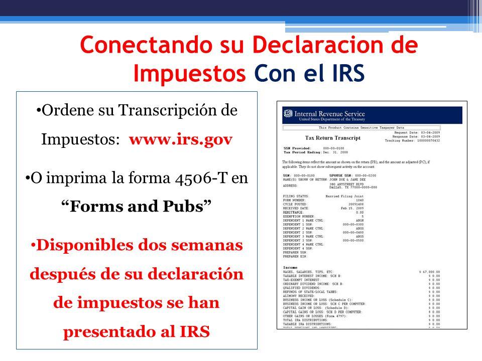 Conectando su Declaracion de Impuestos Con el IRS