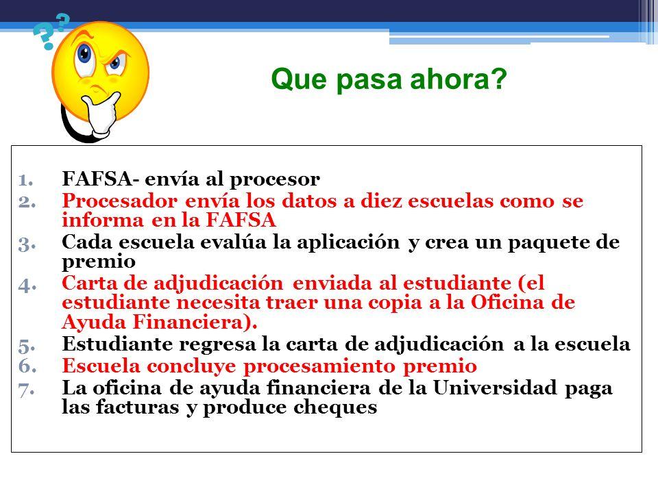 Que pasa ahora FAFSA- envía al procesor