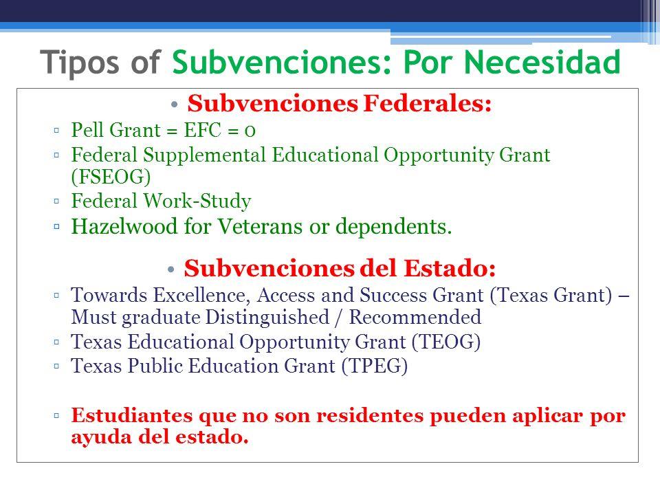 Tipos of Subvenciones: Por Necesidad