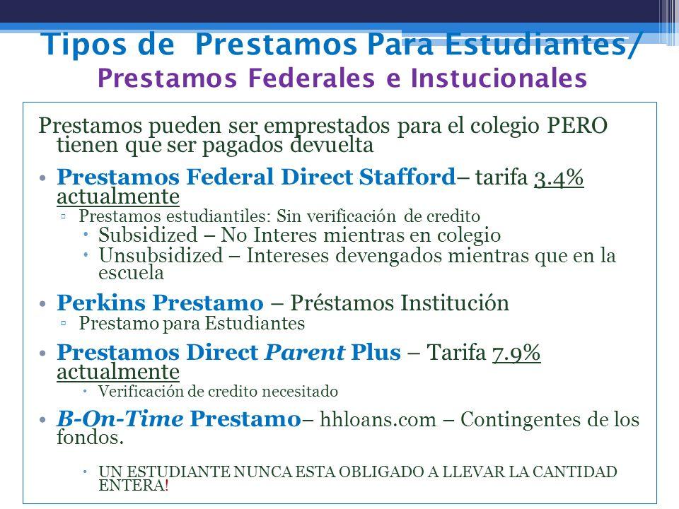 Tipos de Prestamos Para Estudiantes/ Prestamos Federales e Instucionales