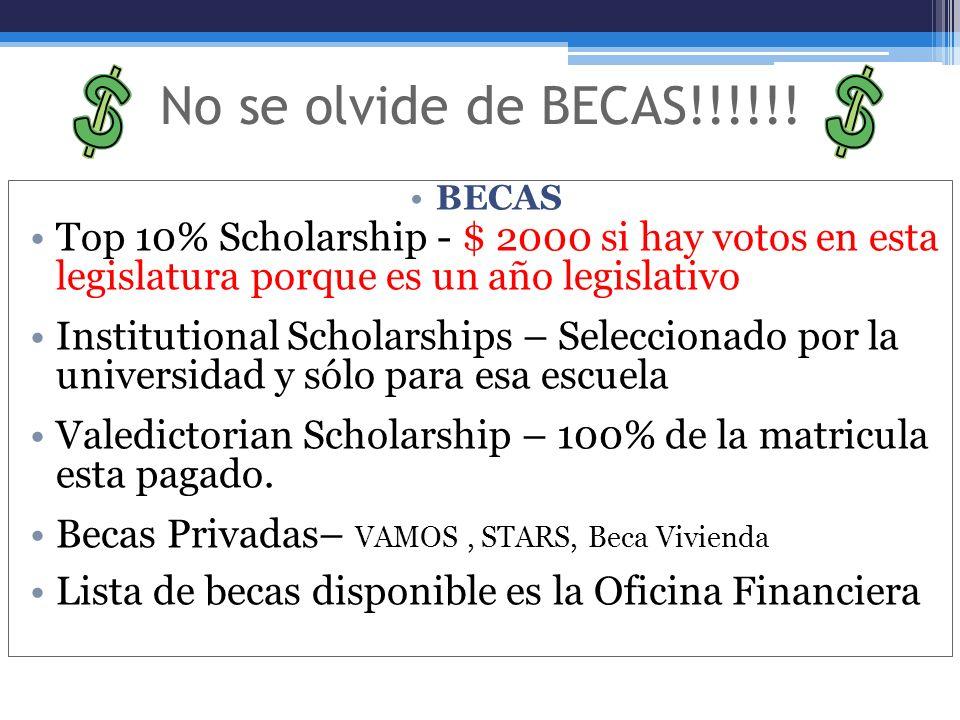 No se olvide de BECAS!!!!!! BECAS. Top 10% Scholarship - $ 2000 si hay votos en esta legislatura porque es un año legislativo.
