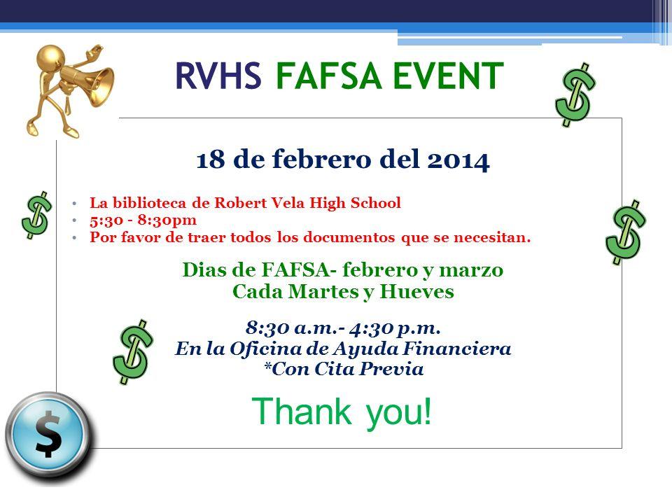 Dias de FAFSA- febrero y marzo En la Oficina de Ayuda Financiera