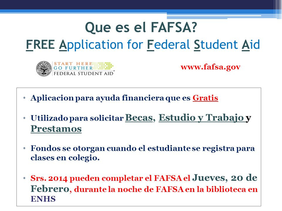 Que es el FAFSA FREE Application for Federal Student Aid