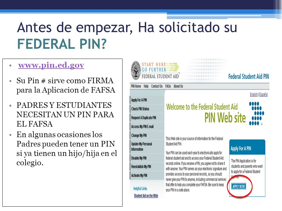 Antes de empezar, Ha solicitado su FEDERAL PIN