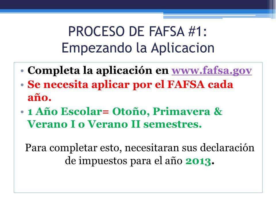 PROCESO DE FAFSA #1: Empezando la Aplicacion
