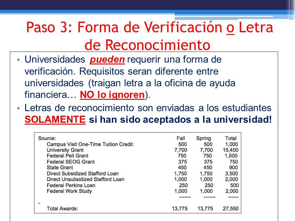 Paso 3: Forma de Verificación o Letra de Reconocimiento