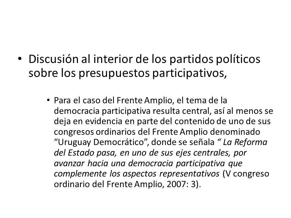 Discusión al interior de los partidos políticos sobre los presupuestos participativos,