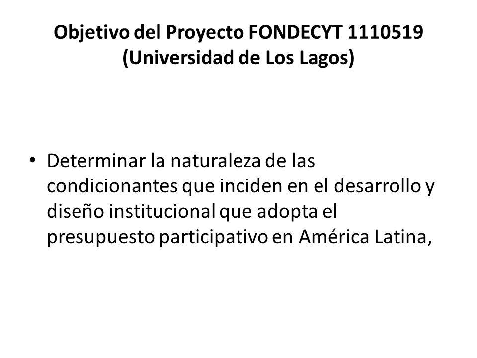 Objetivo del Proyecto FONDECYT 1110519 (Universidad de Los Lagos)
