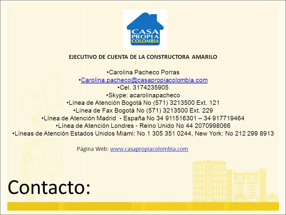 EJECUTIVO DE CUENTA DE LA CONSTRUCTORA AMARILO