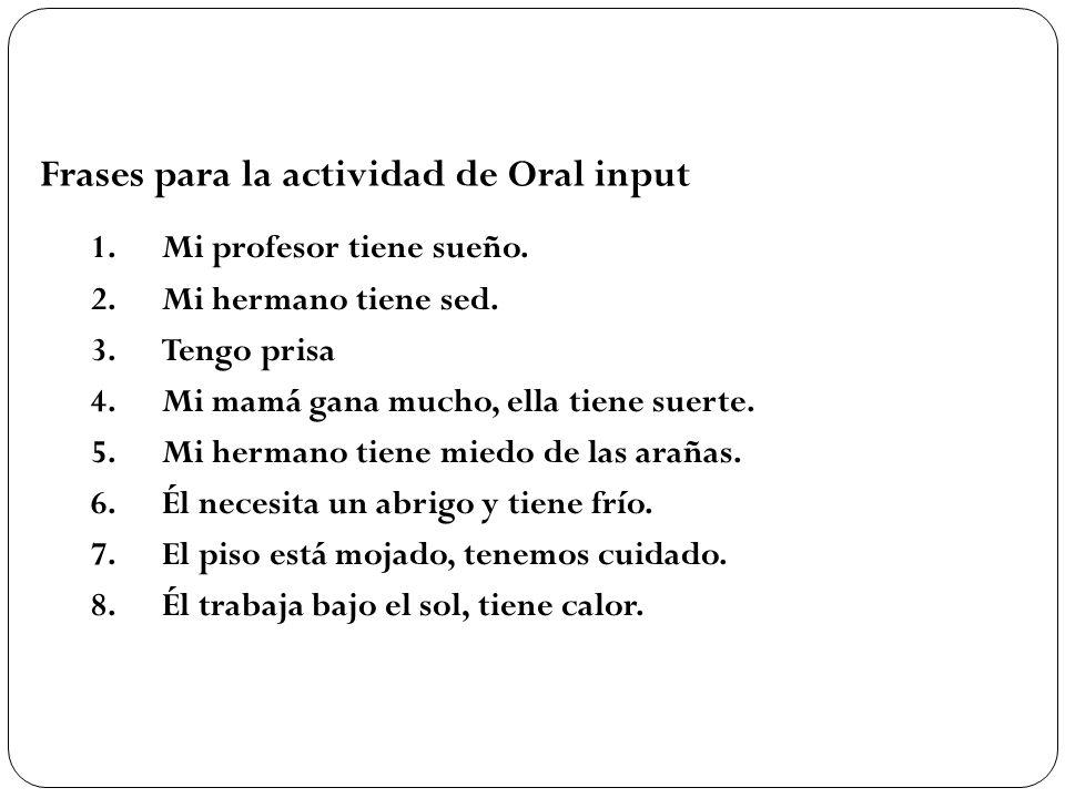 Frases para la actividad de Oral input