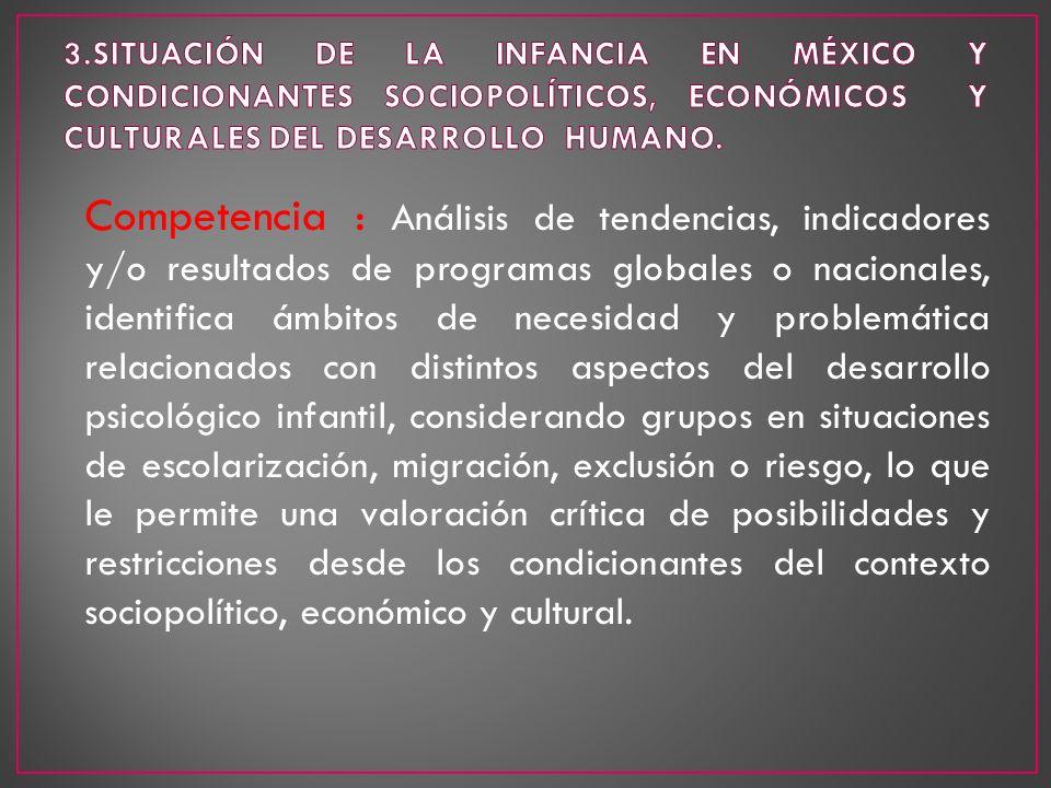 3.SITUACIÓN DE LA INFANCIA EN MÉXICO Y CONDICIONANTES SOCIOPOLÍTICOS, ECONÓMICOS Y CULTURALES DEL DESARROLLO HUMANO.
