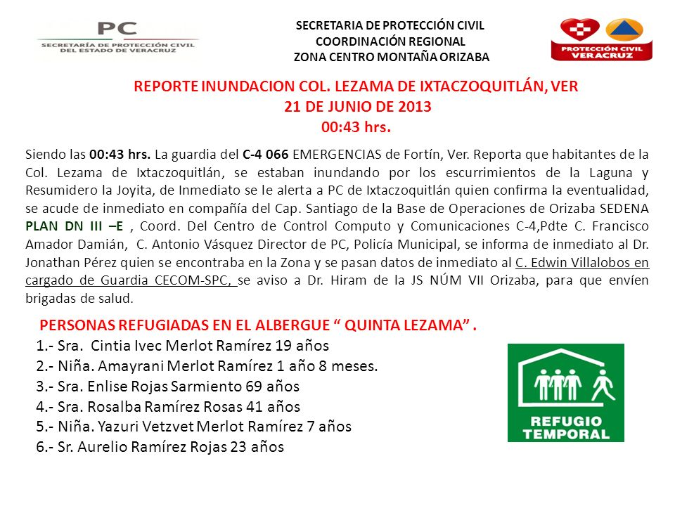 REPORTE INUNDACION COL. LEZAMA DE IXTACZOQUITLÁN, VER