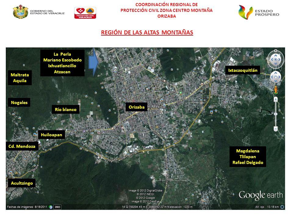 COORDINACIÓN REGIONAL DE PROTECCIÓN CIVIL ZONA CENTRO MONTAÑA ORIZABA