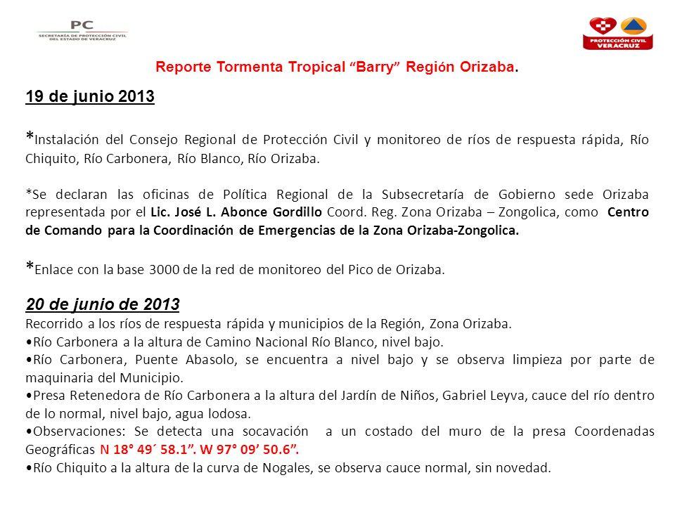 Reporte Tormenta Tropical Barry Región Orizaba.