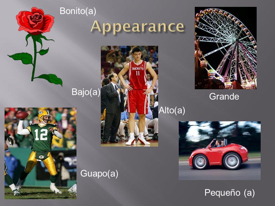 Bonito(a) Appearance Bajo(a) Grande Alto(a) Guapo(a) Pequeño (a)