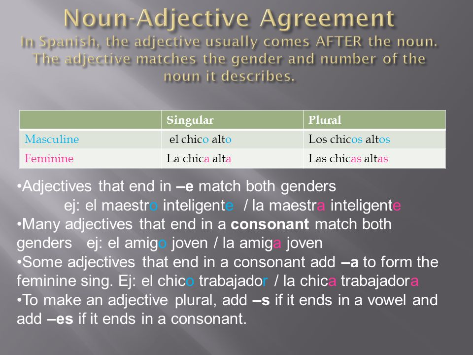 Noun-Adjective Agreement In Spanish, the adjective usually comes AFTER the noun. The adjective matches the gender and number of the noun it describes.
