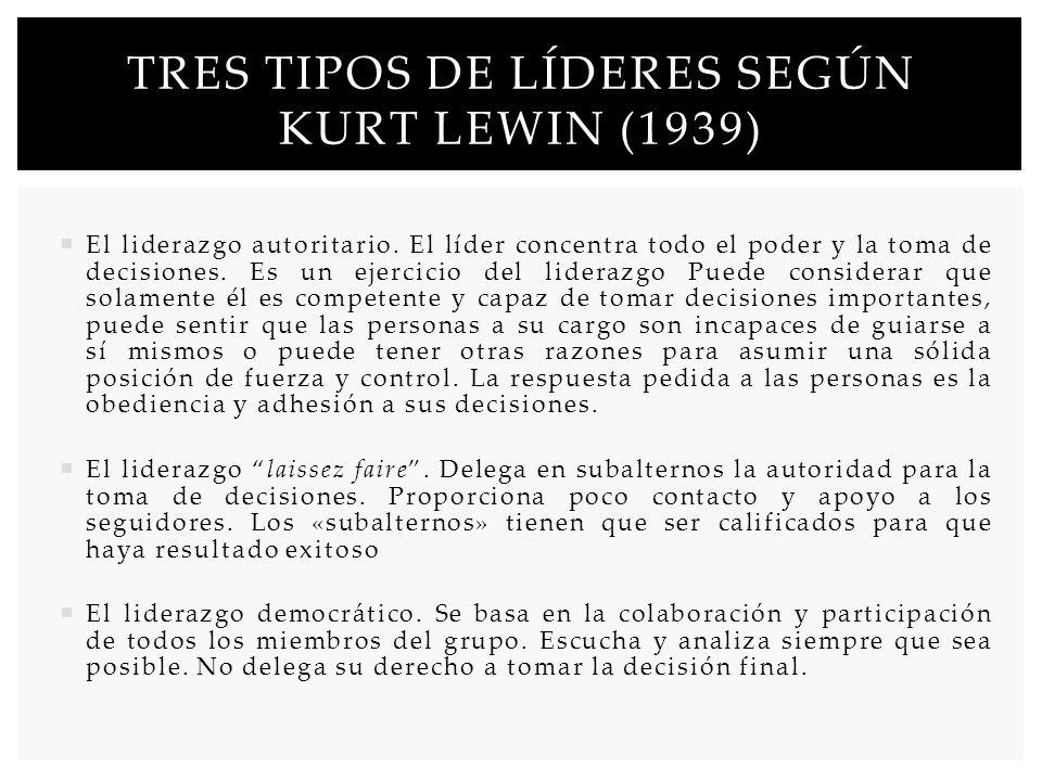 Tres tipos de líderes según Kurt lewin (1939)